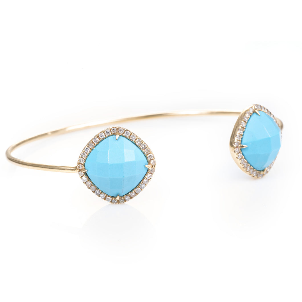 Custom-Made Turquoise and Diamond Bracelet in 14k Yellow Gold