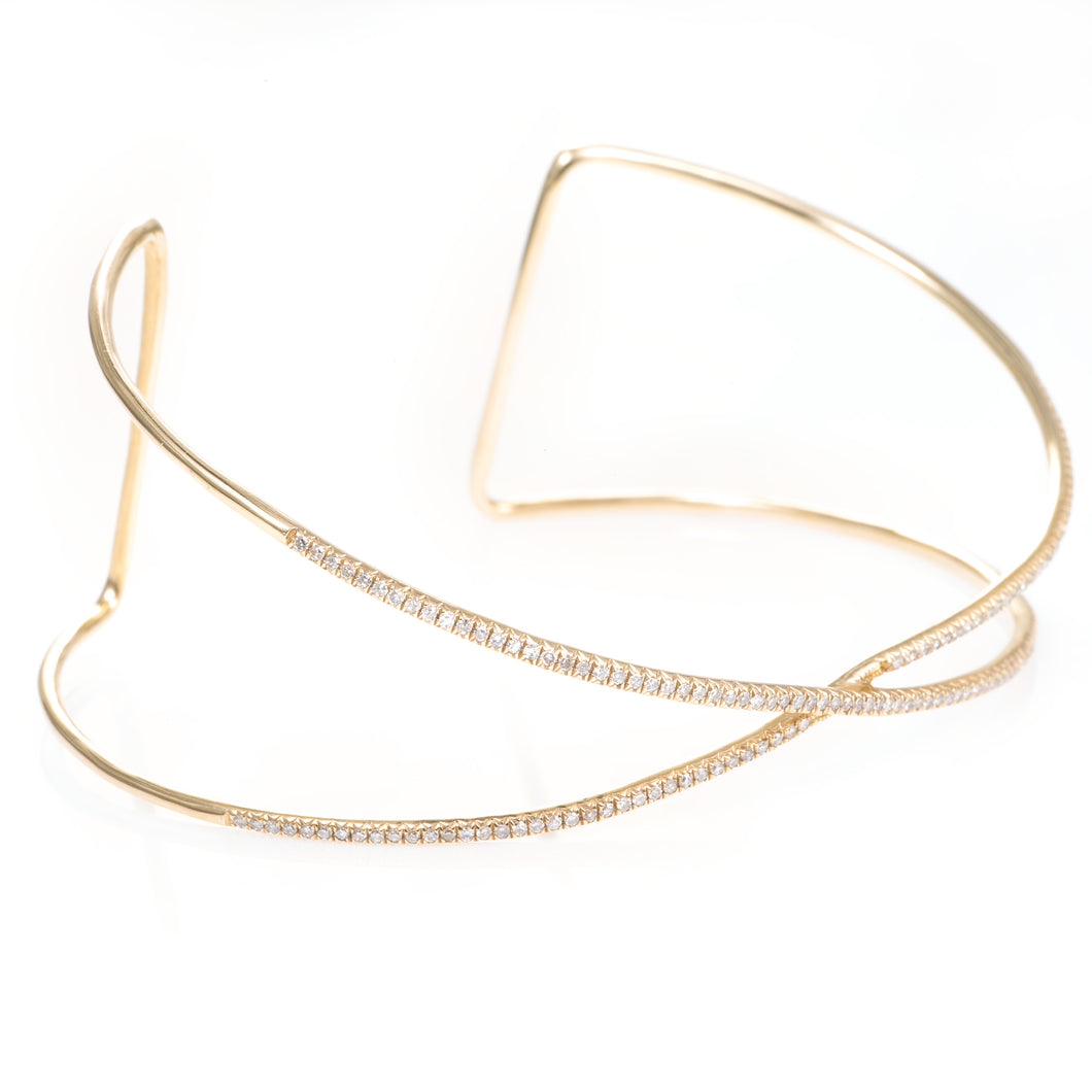 Custom-Made Diamond Criss Cross Bangle Bracelet in 14k Yellow Gold