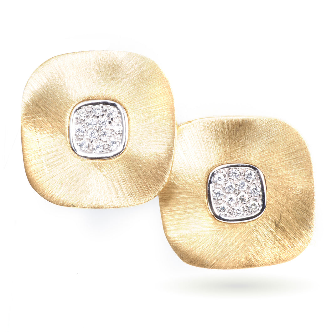Custom-Made 14k Yellow Gold Satin Square Earrings with Diamonds