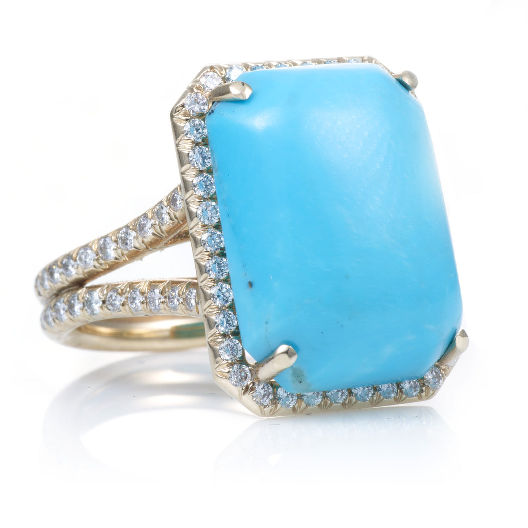 Turquoise Ring with Diamond Halo