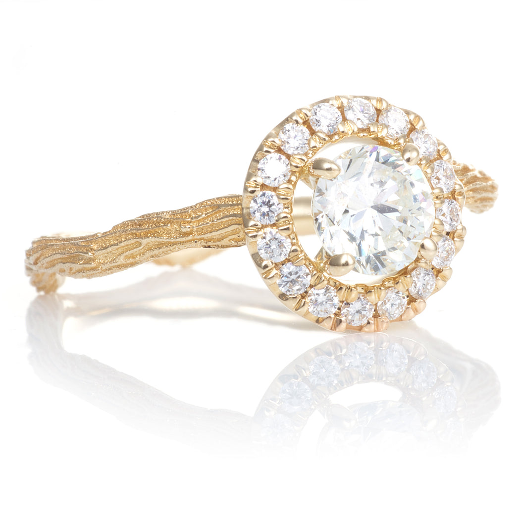 14k Yellow Gold Diamond Halo Ring with Unique Band