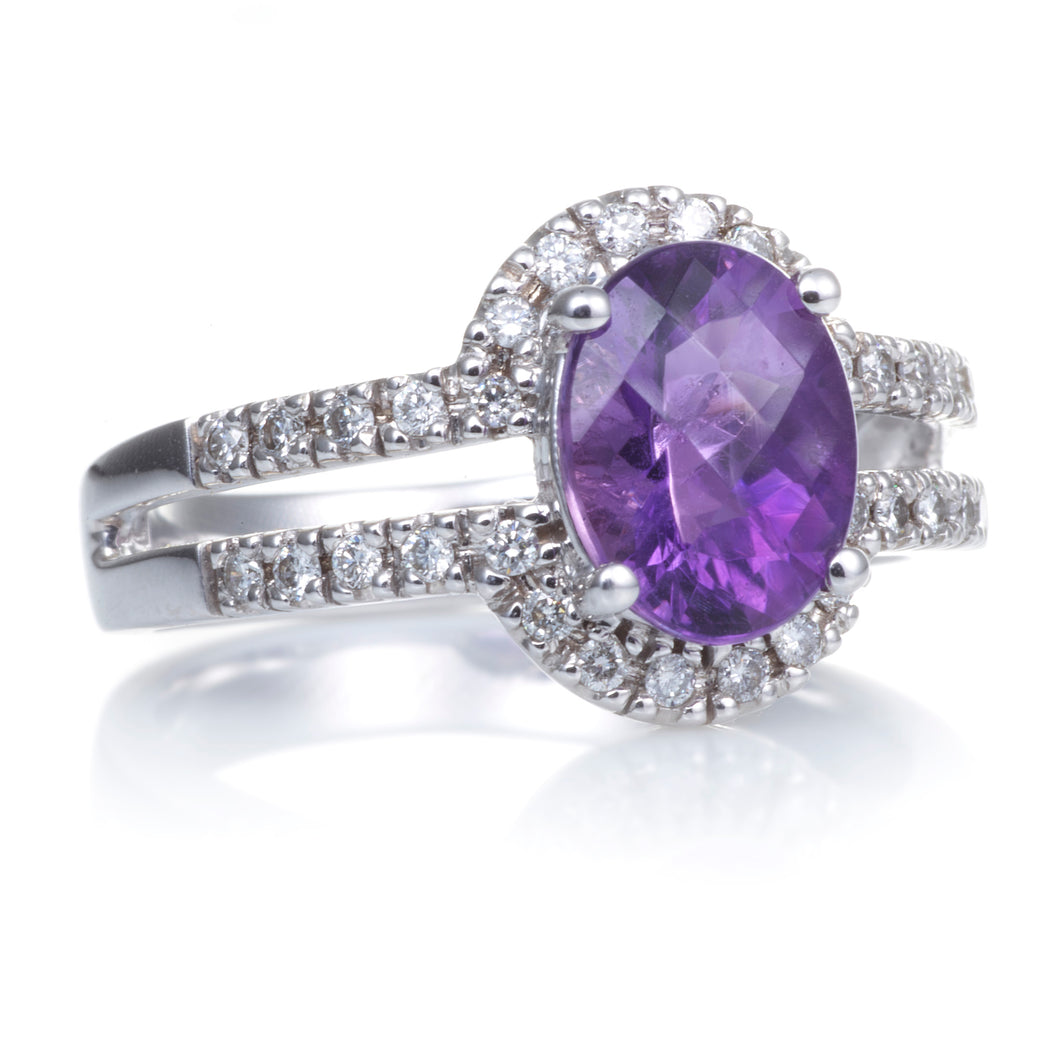 Amethyst Ring with a Diamond Halo