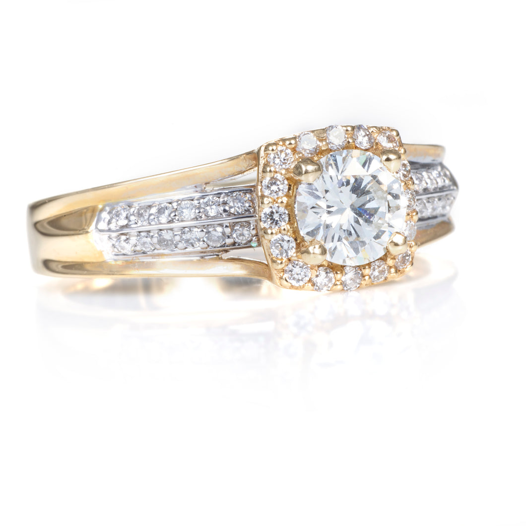 Yellow & White Gold Diamond Halo Ring