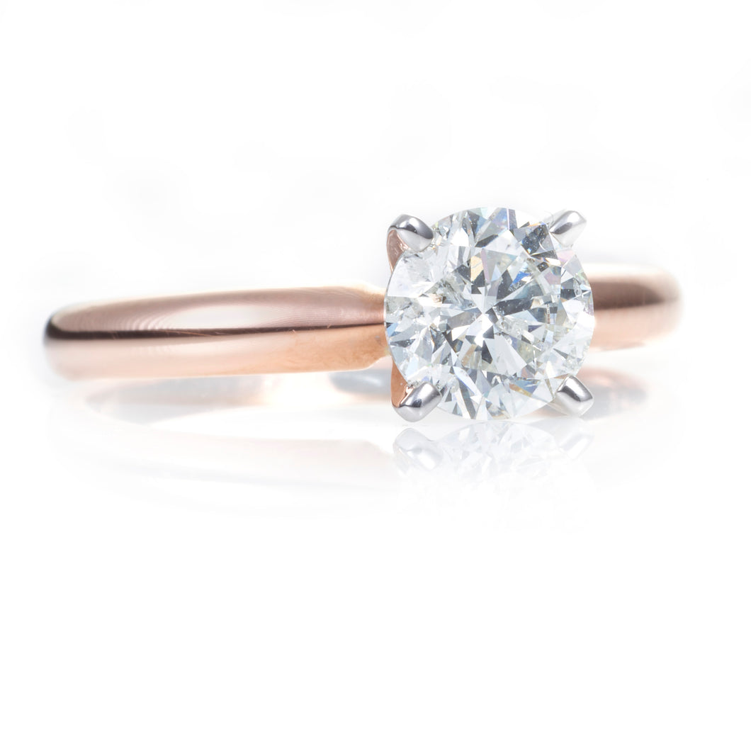 14k Rose Gold Round-Cut Diamond Ring