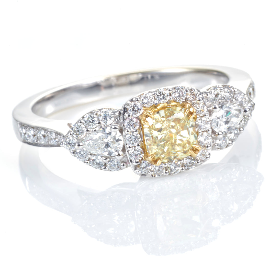 Canary & White Diamond Ring