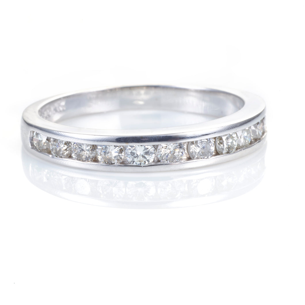 Channel Set Diamond Ring in 14K White Gold