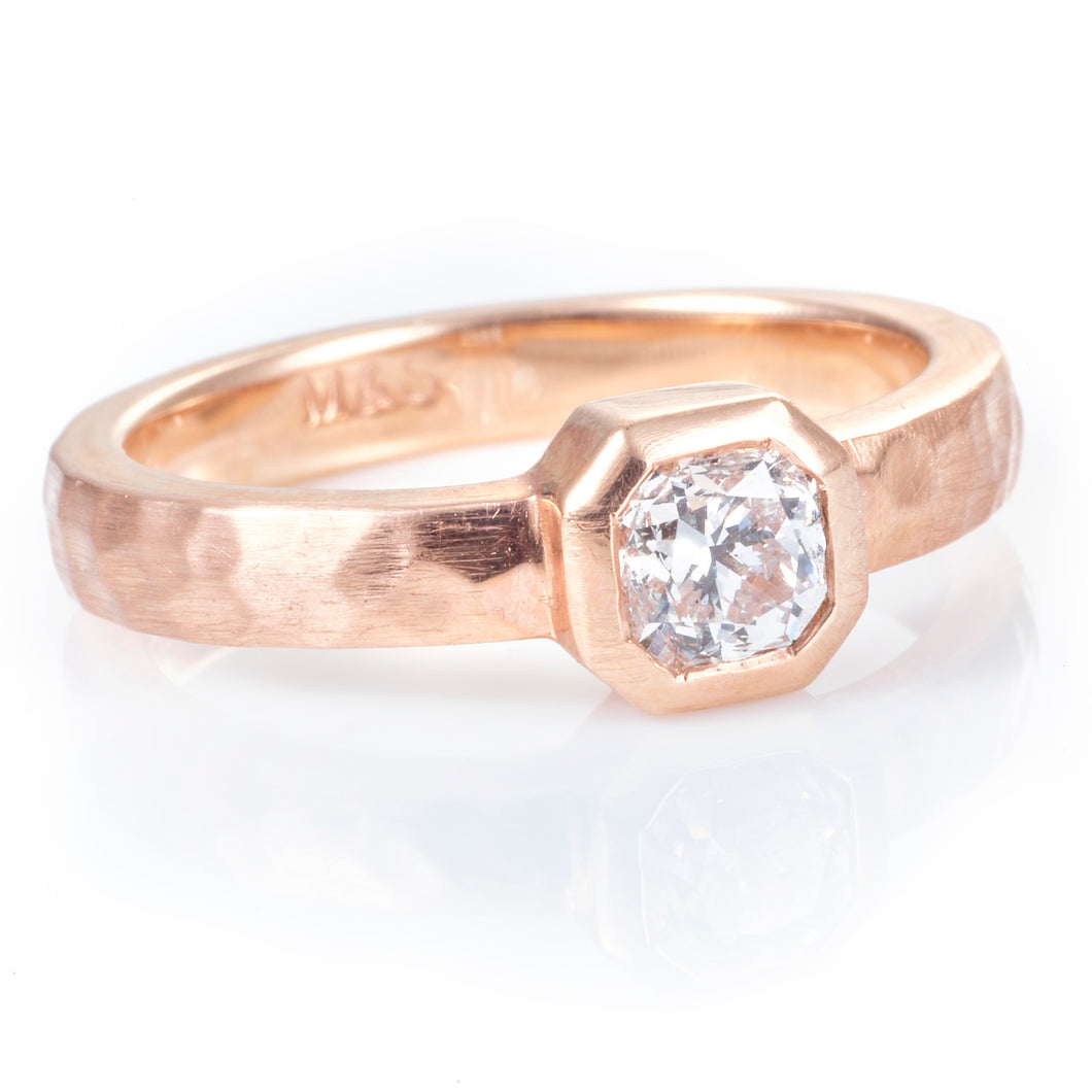 Hammered Rose Gold Diamond Ring