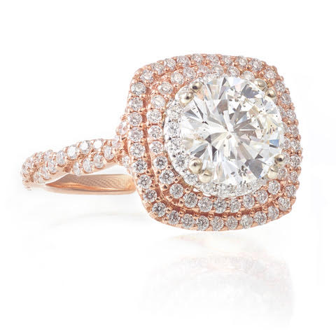 Custom-Made 14k Rose Gold Double Halo Diamond Ring
