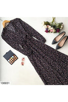 Women's Wrap Collar Patterned Black Long Dress
