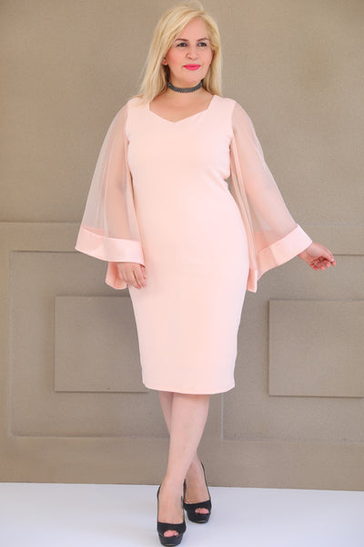 Oversize Tulle Detail Powder Rose Dress