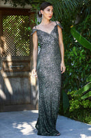 Women's Fish Model Sequin Dark Green Evening Dress