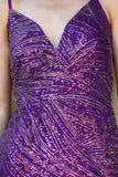 Women's Glitter Purple Long Evening Dress