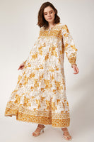 Women's Shirred Sleeves Floral Pattern Yellow Linen Long Dress