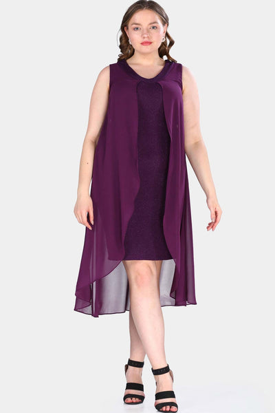 Oversize Tulle Detailed Purple Dress