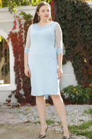 Women's Oversize Pearl Embroidered Blue Dress