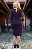 Oversize Lace Embroidered Sleeves Back Buttoned Dark Purple Dress