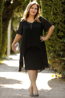 Oversize Collar Accessory Black Dress