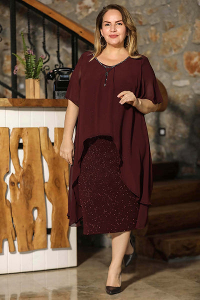 Oversize Collar Accessory Claret Red Dress