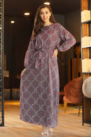 Women's Patterned Dusty Rose Chiffon Long Dress