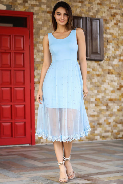 Women's Pearled Blue Dress