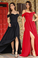 Women's Boat Neck Red Evening Dress