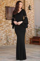 V Neck Black Evening Dress
