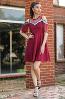 Women's Sequin Claret Red Dress