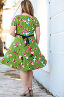 Women's Oversize Belted Patterned Green Dress