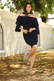 Boat Neck Navy Blue Dress