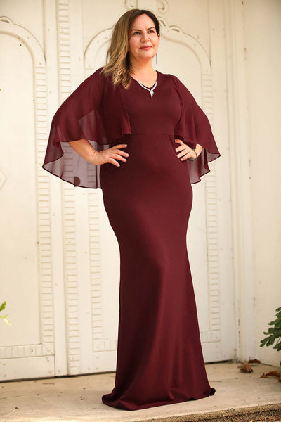 Oversize Long Fish Model Claret Red Evening Dress
