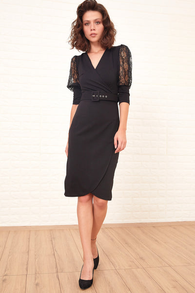 Women's Lace Sleeves Belted Black Short Dress