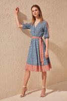 Women's Belted Patterned Petrol Dress
