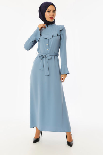 Women's Collar Detail Belted Button Crepe Long Dress