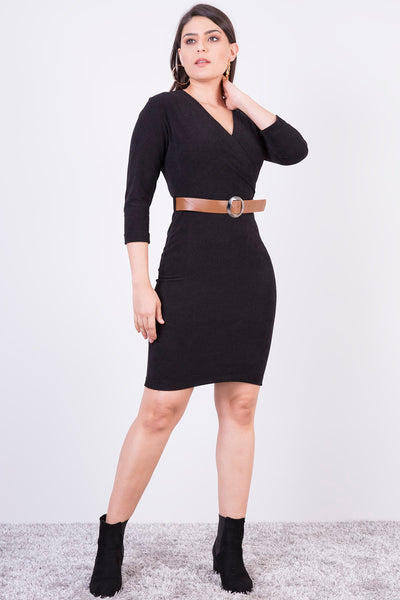Women's Belted Rib Velvet Short Dress