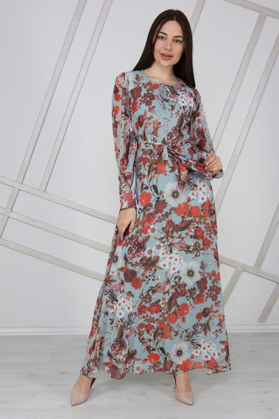 Women's Belted Floral Pattern Chiffon Long Dress