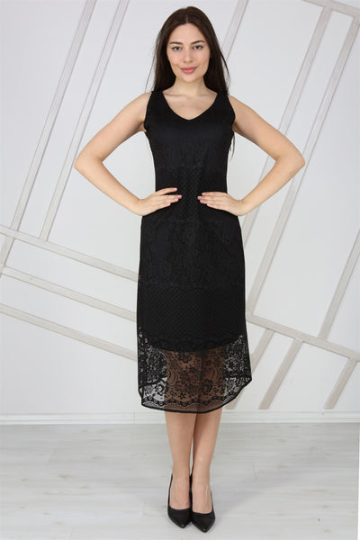 Women's V Neck Sleeveless Black Lace Midi Dress