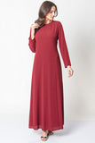Women's Crew Neck Claret Red Long Dress