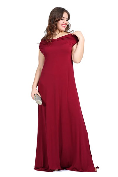 Women's Oversize Boat Neck Evening Dress