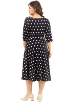 Women's Oversize Short Polka-Dot Lycra Evening Dress