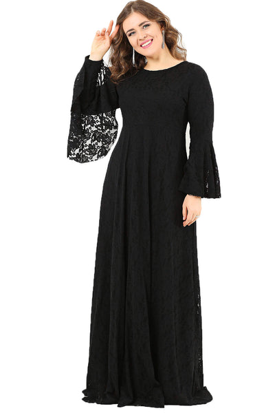 Women's Oversize Full Lace Modest Dress