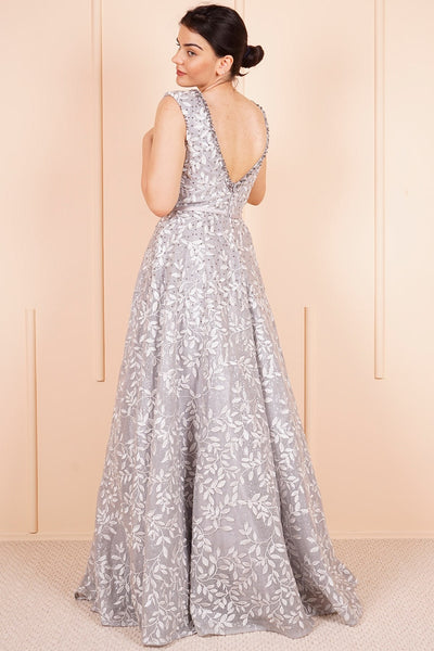 Women's Patterned Gemmed Long Evening Dress