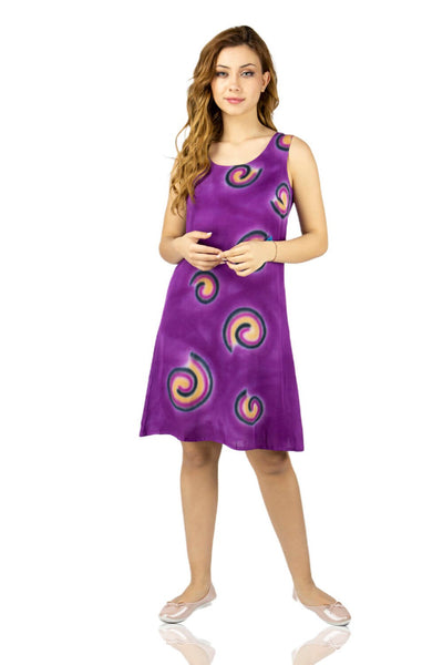 Women's Printed Purple Short Dress