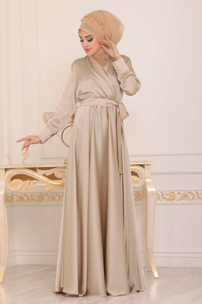 Women's V-neck Beige Modest Long Evening Dress