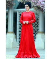 Women's Pleated Red Evening Dress