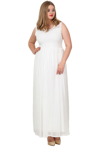 Oversize Sleeveless Chiffon Long Evening Dress