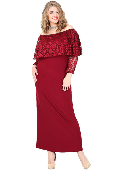 Women's Oversize Long Open Shoulders Evening Dress