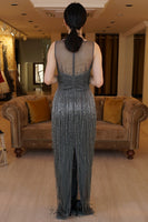 Women's Fringe Sequin Grey Long Evening Dress