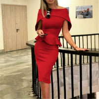 Solid Strapless Dresses For Women Fashion Casual Ruffles High Waist Tightening Women Dress Red Boycon Sheath Formal Dress Lady