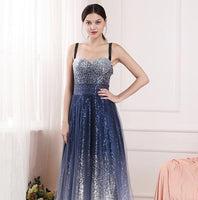 sexy blue gradient socialite birthday party annual toast stars evening dress