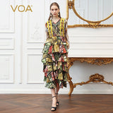 VOA Silk Print V Neck Layered dress women party woman night summer dresses  Long  Lantern Sleeve  Holiday  clothes A352